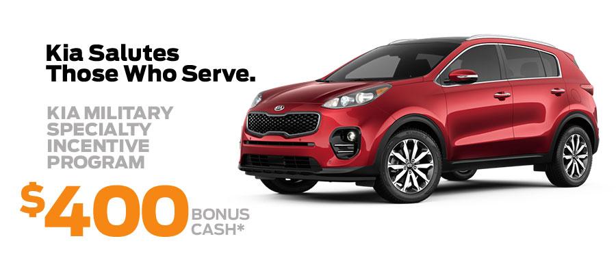 Kia Salutes Those Who Serve. $400 Bonus Cash*
