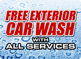 Complimentary exterior car wash