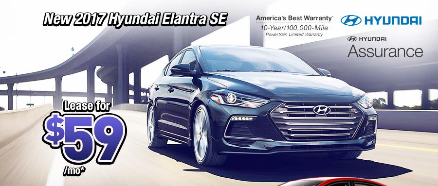 New 2017 Hyundai Elantra SE $59 a month lease*
