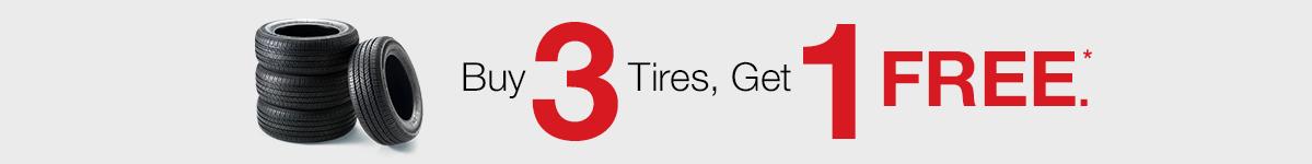 Buy 3 tires, get 1 free*