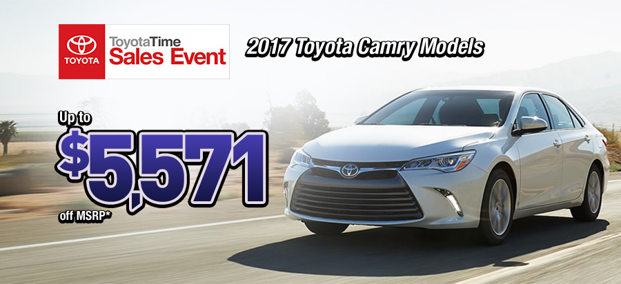 Up to $5,571 off MSRP on new 2017 Toyota Camry models*
