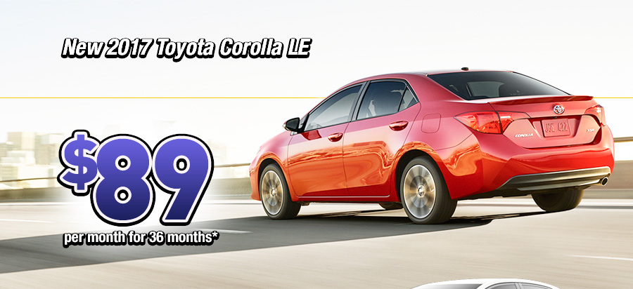 New 2017 Toyota Corolla LE $89 a month for 36 months*
